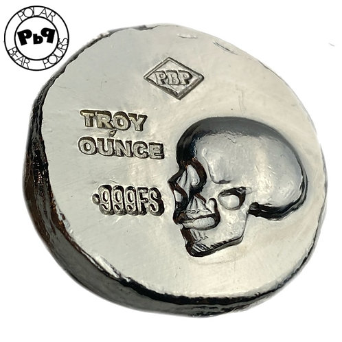 1 OZT hand poured silver high relief skull PBP round