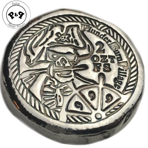 """2 OZT """"Plunder Burn Pillage"""" Pirate silver round"""