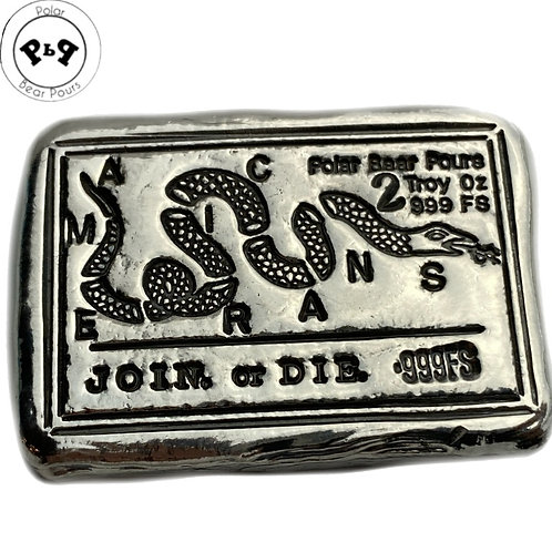 "2 OZT ""Join or Die"" silver bar"