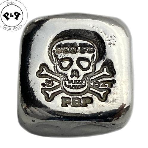 1/2 OZT Skull Fractional hand poured .999 silver bar