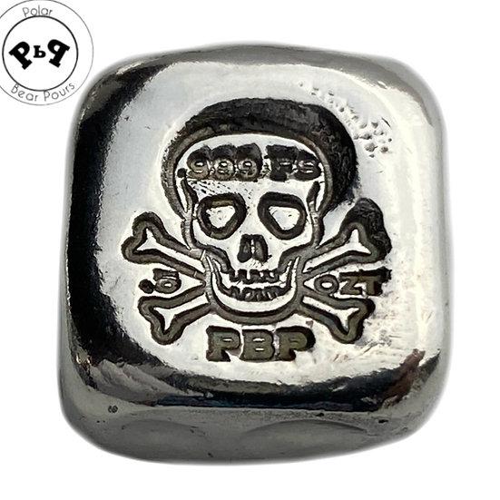 1/2 OZT Hand Poured .999 fine silver bar skull fractionals