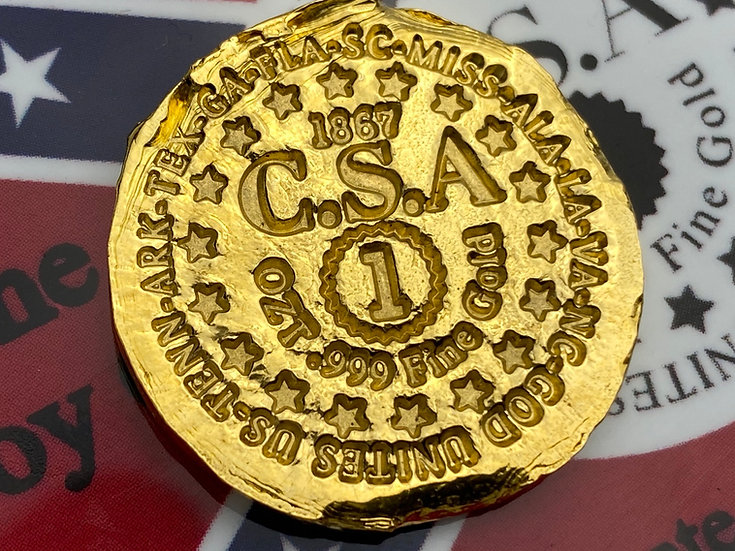 PolarBearPours Lost Confederate Gold 1 Troy Oz .999 fine gold