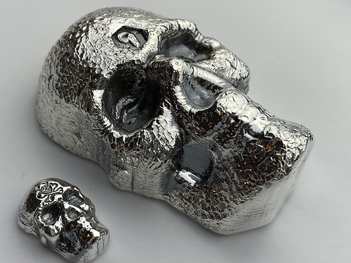 30 OZT MAMMOTH SILVER SKULL!! .999 fine silver hand poured textured skull.