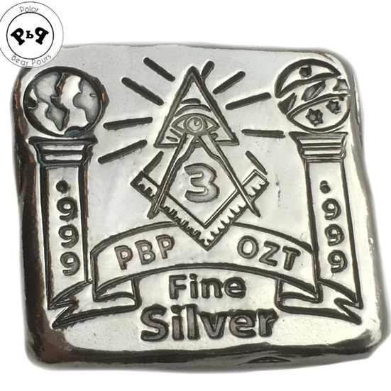 New 3 ozt Hand Poured Freemason bar