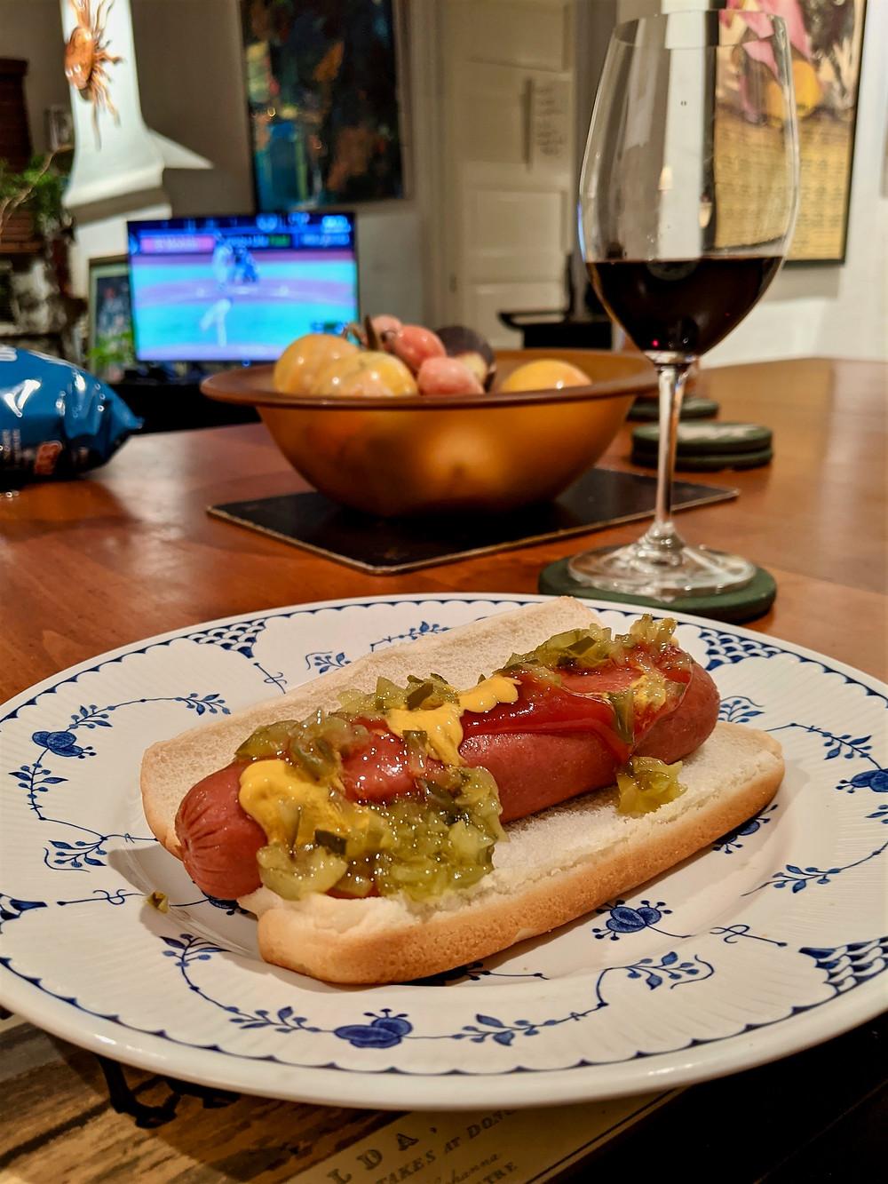 Hot dog and wine