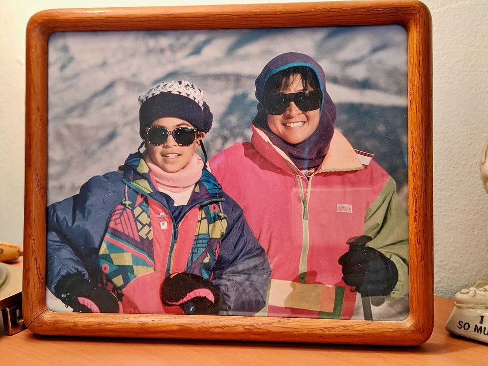 Athena and Jacqueline skiing