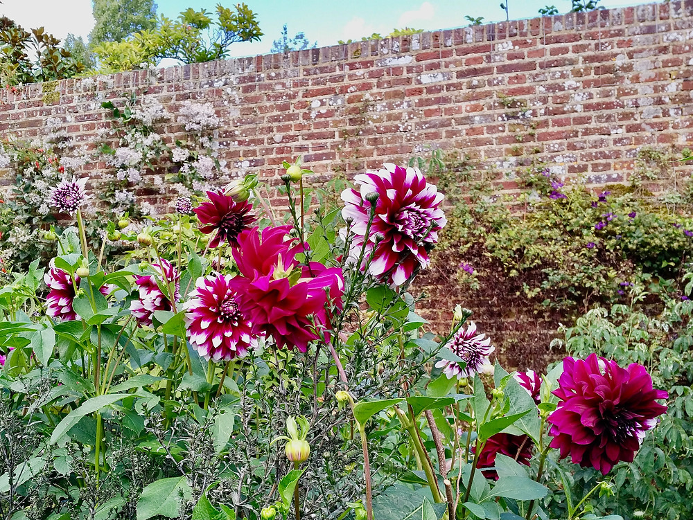 Colorful blooms in one of 10 garden rooms at Sissinghurst Castle Garden.