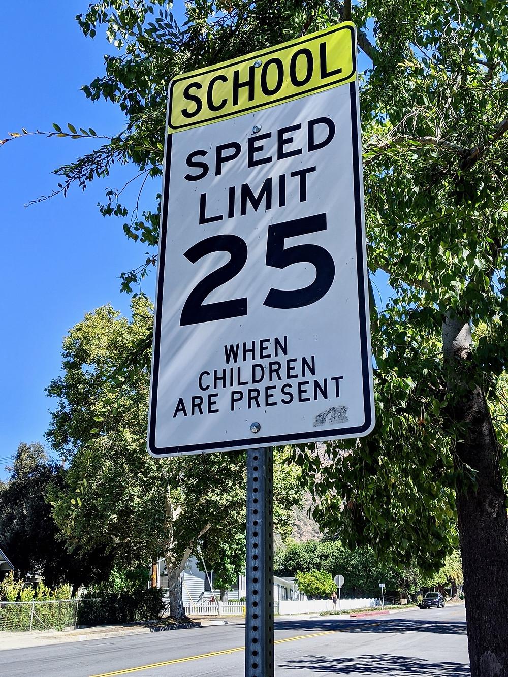 School speed limit sign