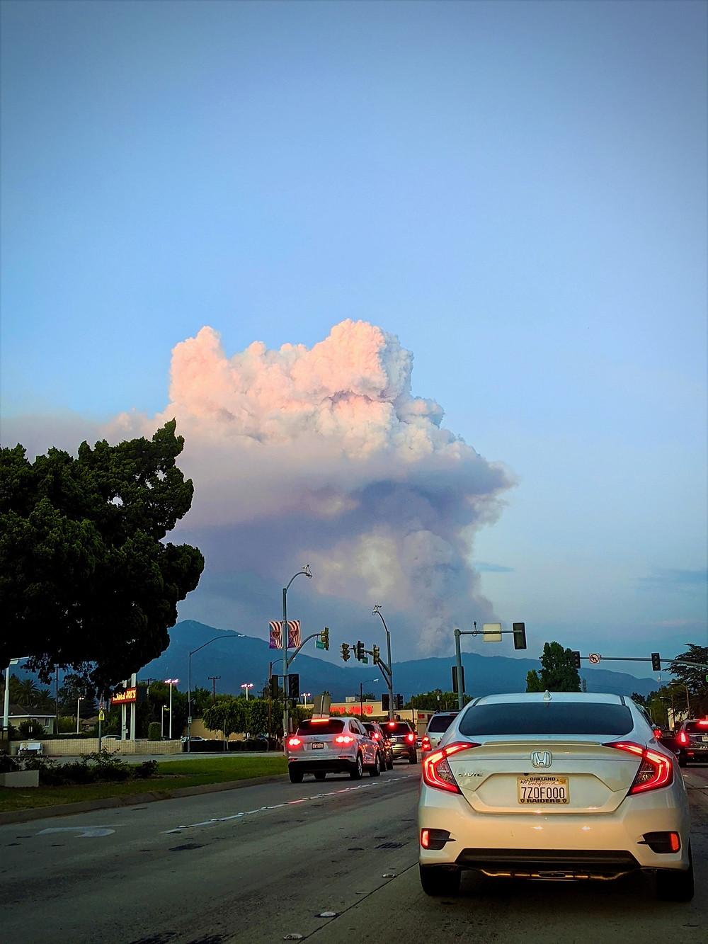 Fire smoke in the San Gabriel Mountains