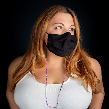 Woman models beaded mask chain - We Are In This Together