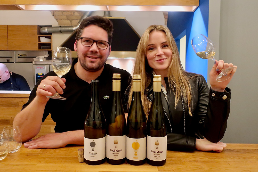 Athena Bochanis of Palinkerie Fine Hungarian Imports (right) and Hungarian winemaker Tamas Kis of Somloi Vandor Winery