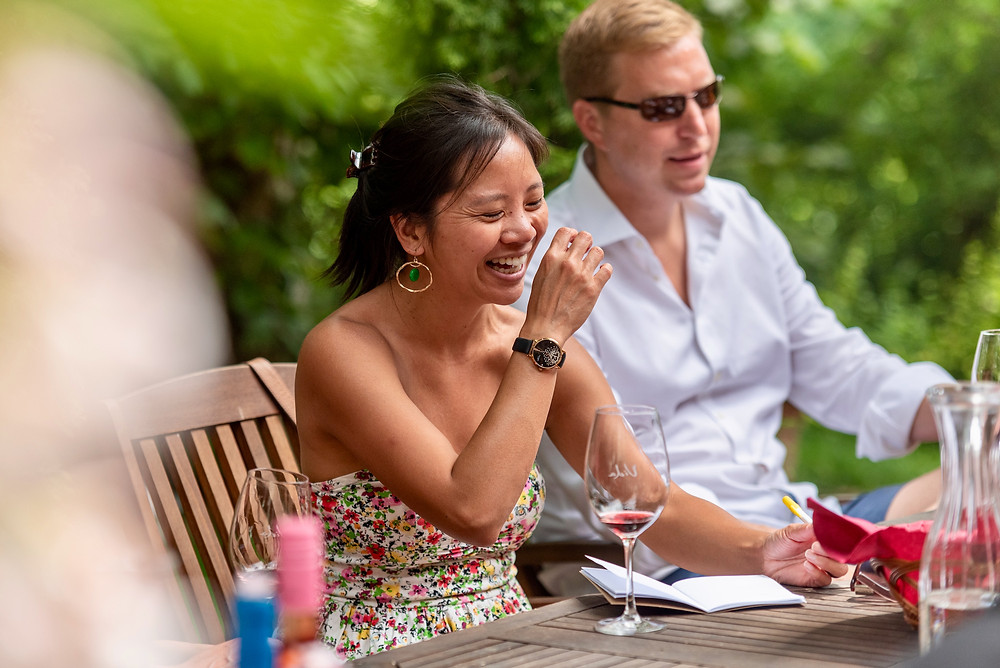 Tour guests enjoy wine tasting and camaraderie