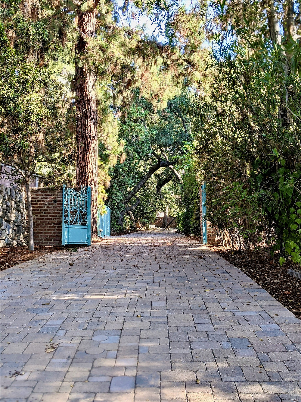 Long driveway with turquoise gate