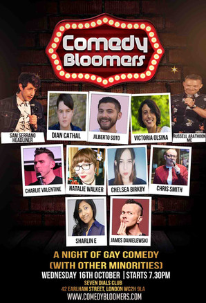 COMEDY BLOOMERS 16TH OCTOBER 2019 FLYER