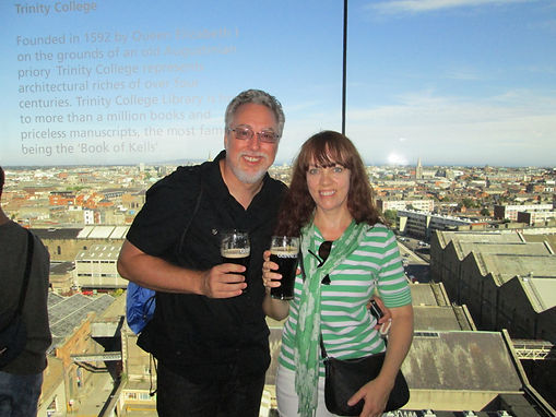 Enjoying a pint at Guinness in Dublin