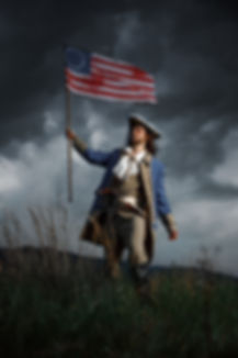 American revolution war soldier with fla