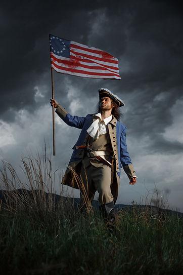 American revolution war soldier with fla