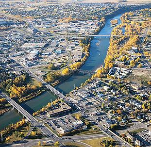 Red-Deer-Aerial-downtown-bridges-municip