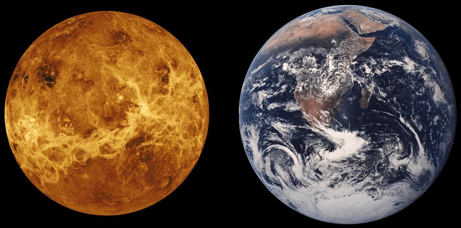 Vénus comparée à sa voisine, la Terre. Image : Universe Today