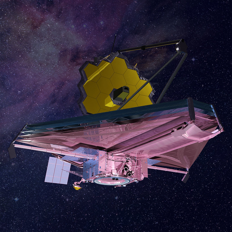 Vue d'artiste du JWST en vol. Image : NASA