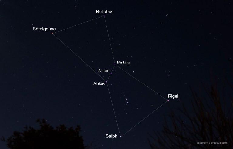 Position de Bételgeuse au sein de la constellation Orion. Image : Simon Jacquelin