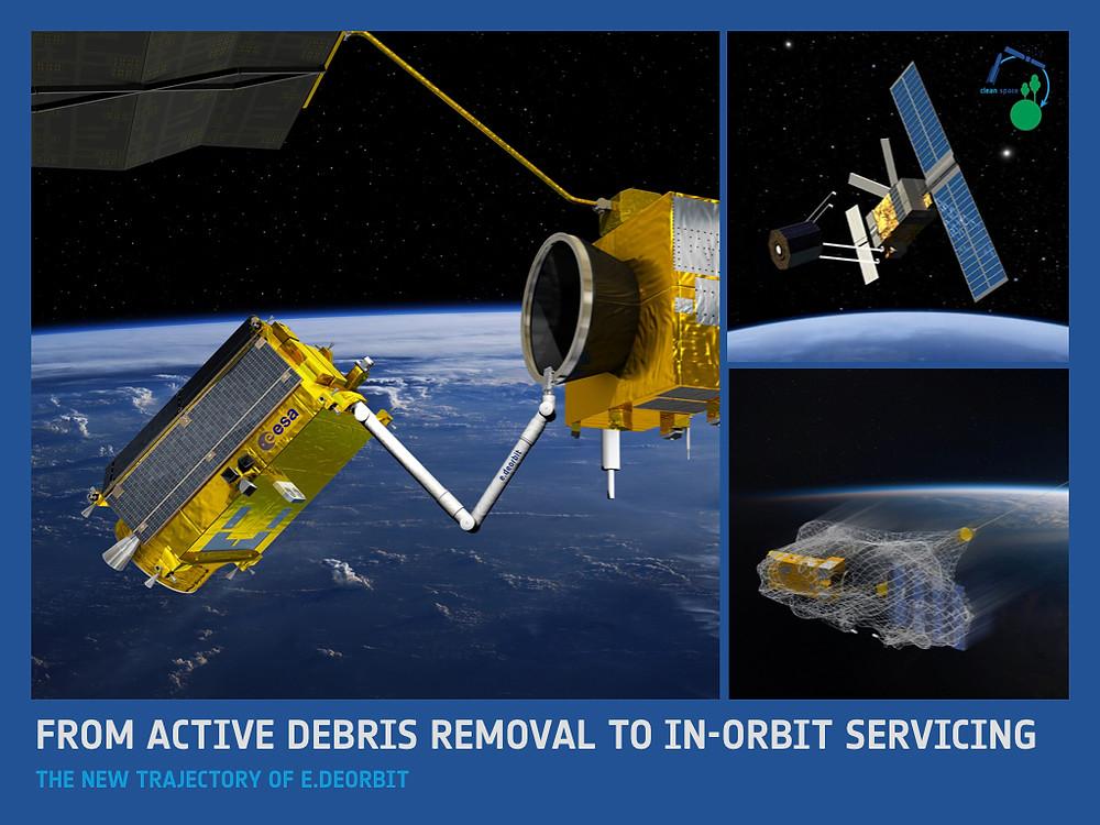 """Concept de la mission e.Deorbit, avec plusieurs idées de mécanismes """"d'amarrage"""" au satellite cible, du bras robotique au filet. Image : ESA."""