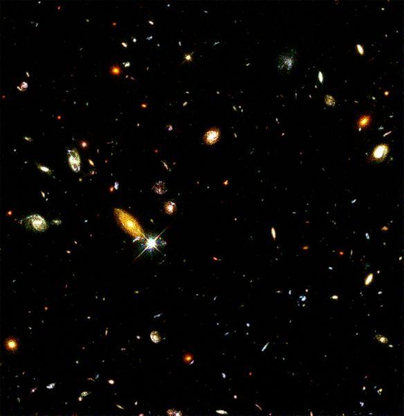 Image du champ profond de Hubble, petite région du ciel photographiée en longue pose, qui dévoile des milliers de galaxies. Image : R. Williams (STScI), the Hubble Deep Field Team and NASA