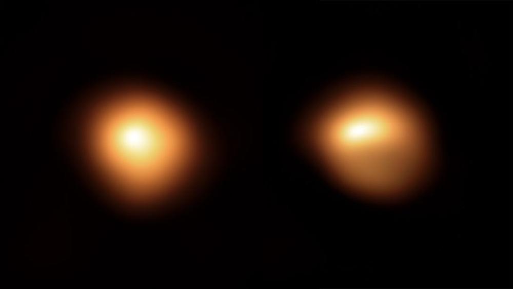 Gauche : Bételgeuse en janvier 2019. Droite : Bételgeuse en décembre 2019, avec sa moitié inférieure fortement éteinte. Image : ESO/M. Montargès et al. (Katholieke Universiteit Leuven).