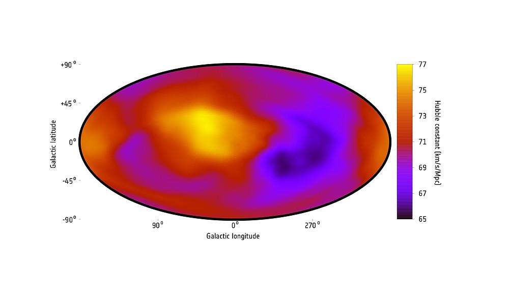 Carte de l'expansion de l'univers sur base des données en rayons X de Migkas et al., 2020. Les zones orangées correspondent à une expansion plus rapide que prédit par le principe d'isotropie, et les zones mauve sombre, plus lente.
