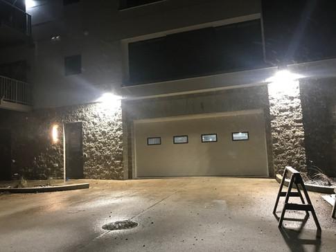 Lighting by the Parking Garage Door