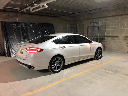 Parking garage under the Duryea complex.