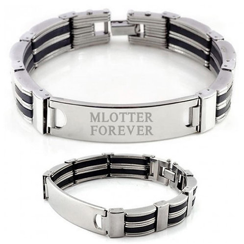 """Mlotter Forever"" Men's Engraved Stainless & Black Stripe Bracelet"