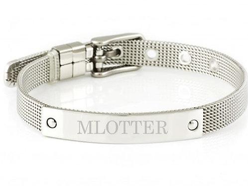 """""""MLOTTER"""" Women's Mesh Buckle Engraved Bracelet"""