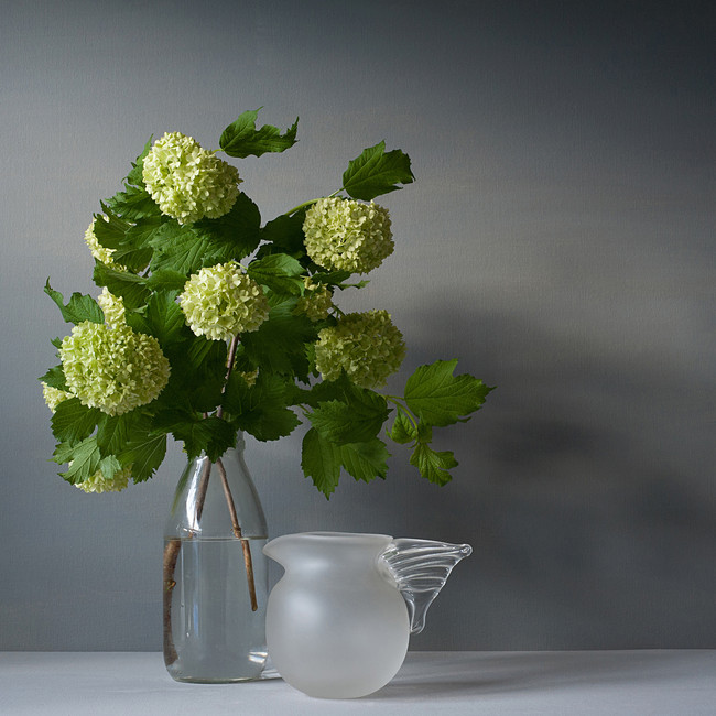 Pom pom flowers and glass jug