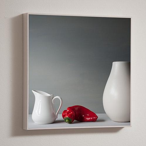 Red pepper 30 x 30cm block framed