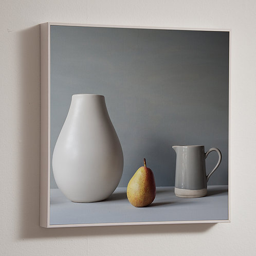 Pear and jug 50 x 50cm block framed