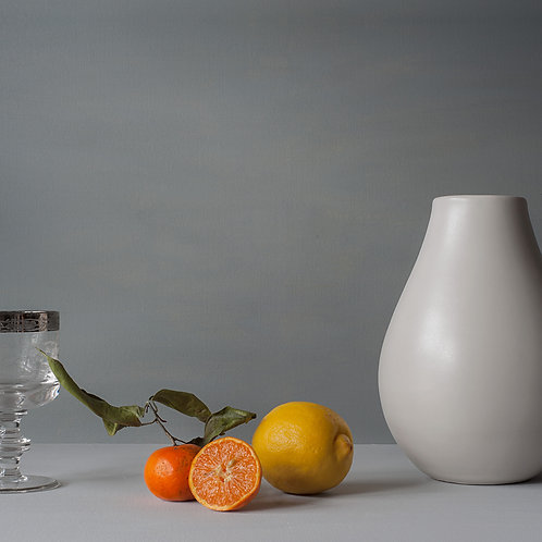 Tangerine, leaf and lemon 30cm x 30cm block framed