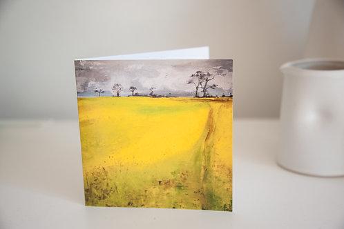 Field landscape greetings card