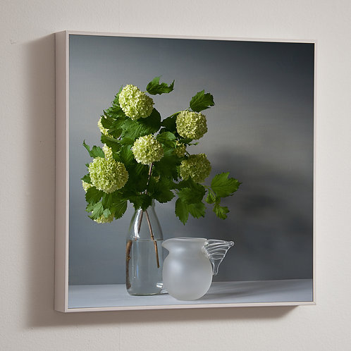 Flowers and Glass Jug 50 x 50cm framed block