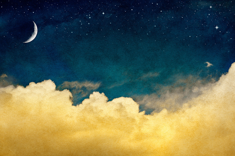 clouds, stars, crescent moon