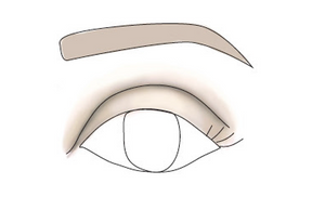 Protruding make up and eyebrows shape