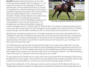 TDN article about our 1st Dubai World Cup Carnival runner at Meydan and prospects for the year ahead