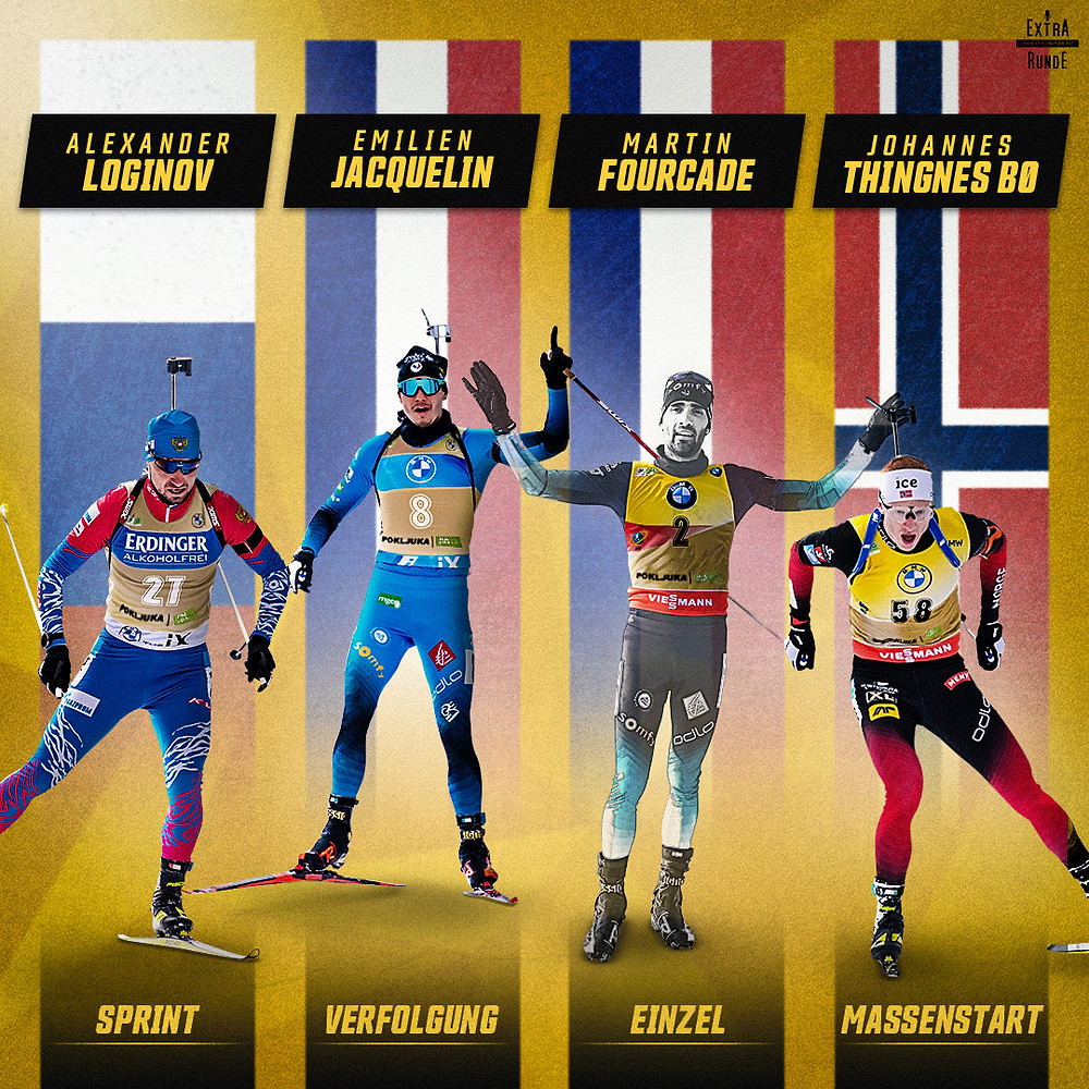 Die Titelverteidiger der Einzelrennen sind Alexander Loginov im Sprint, Emilien Jacquelin in der Verfolgung, Martin Fourcade im Einzel und Johannes Thingnes Boe im Massenstart.