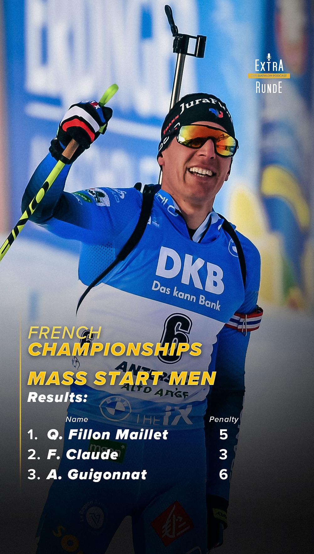 Den Massenstart bei den nationalen Meisterschaften in Frankreich gewinnt Quentin FIllon Maillet