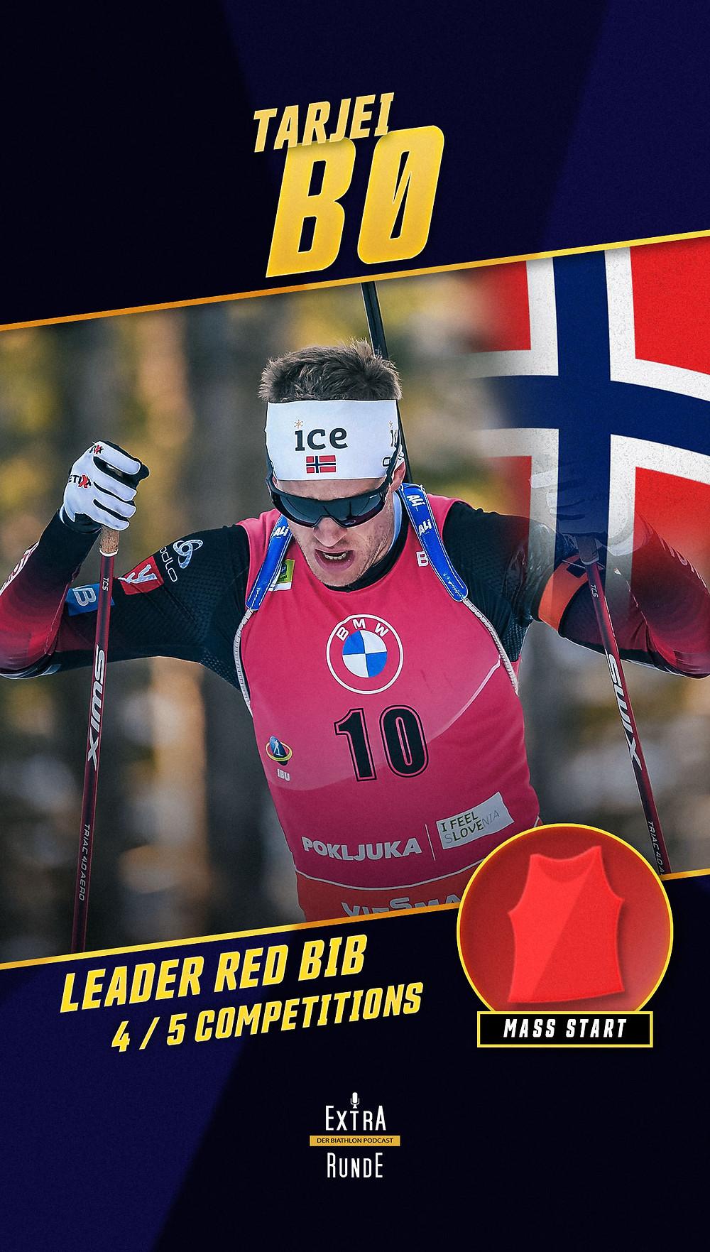 Tarjei Bø führt die Biathlon Massenstartwertung in der Saison 2020/21 an.