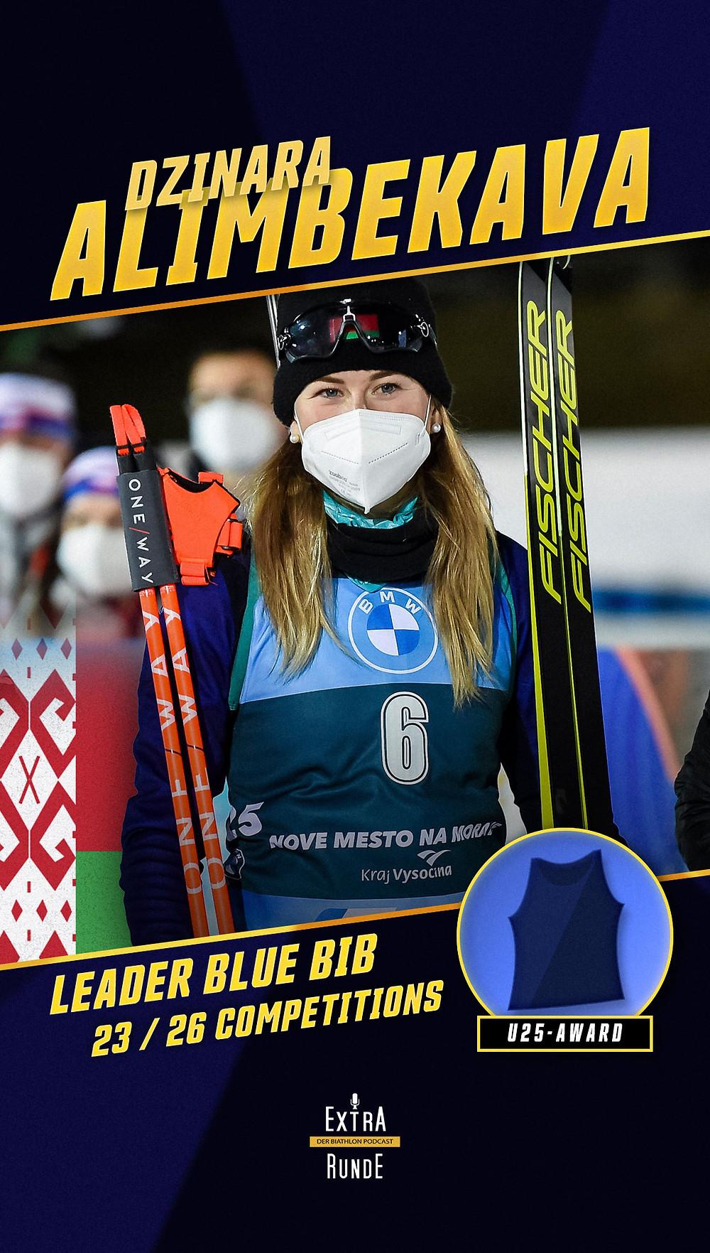 Dzinara Alimbekava führt in der Biathlon Wertung der Punktbesten unter 25 Jahren vor Marketa Davidova, Ingrid Landmark Tandrevold und Julia Simon.