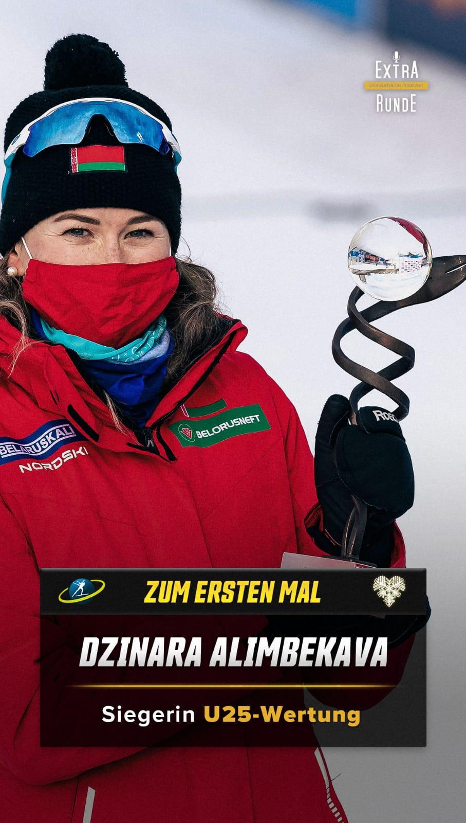 Die Wertung der Besten Biathletin unter 25 Jahren gewinnt die Belarusin Dzinara Alimbekava.