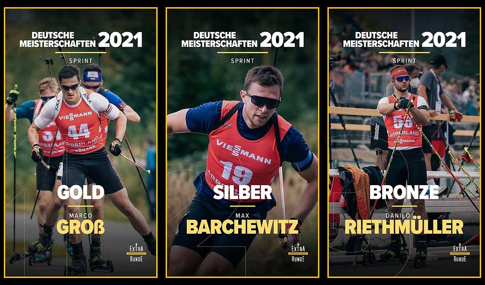 Marco Groß, Sohn von Ricco Groß, gewinnt den Sprint vor Max Barchewitz und Danilo Riethmüller