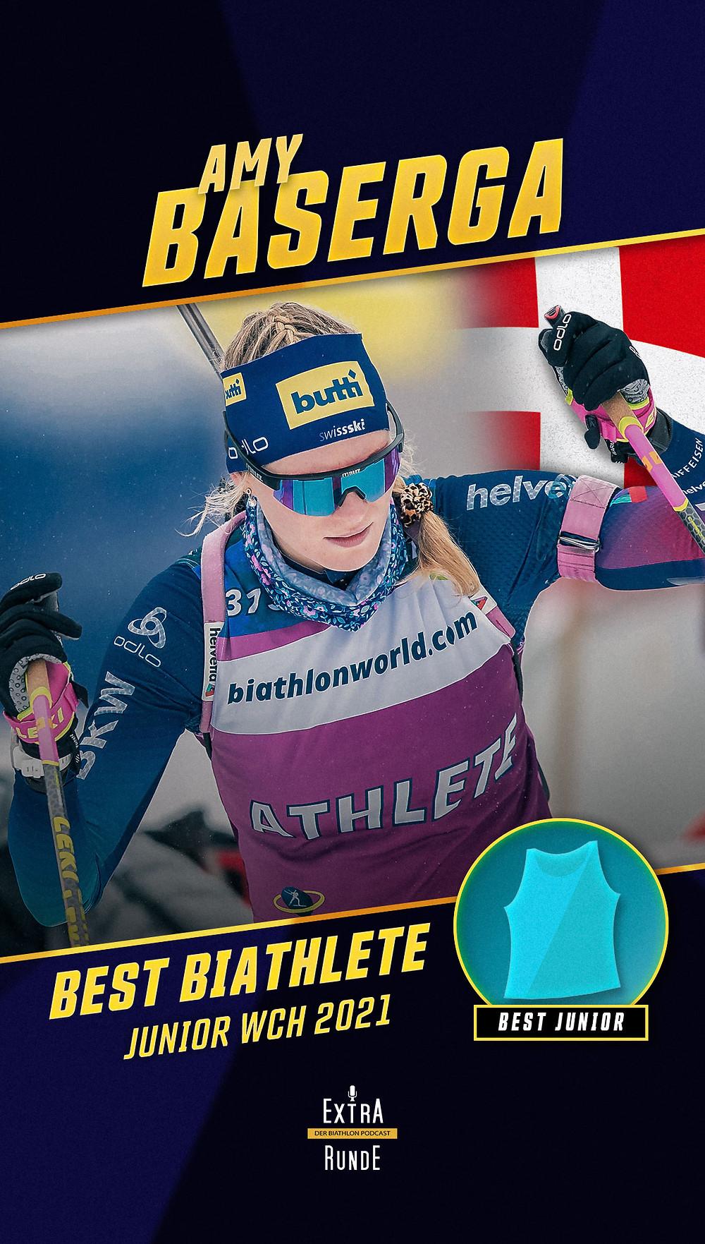Amy Baserga ist die beste Biathletin der Biathlon Juniorweltmeisterschaft 2021 in Obertilliach.