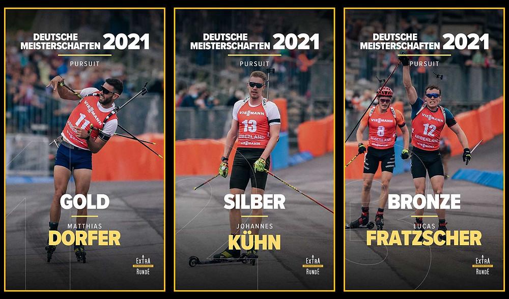 Matthias Dorfer holt Gold vor Johannes Kühn und Lucas Fratzscher.